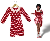 Mesh Dolly Dress Red Spotty