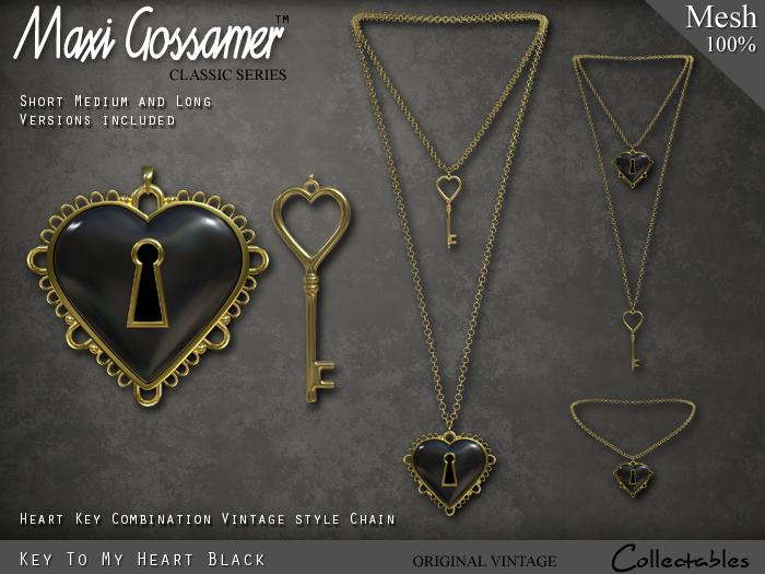 Necklace - Key To My Heart Pendant - Black (V1)