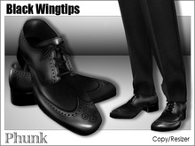[Phunk] Mesh Black Wingtip Shoes