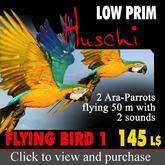 Flying Birds 2 nice flying parrots w. sound, 2 loros con sonido