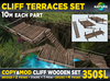 CLIFF TERRACES SET - 2x balcony sun decks, stairs and terrace bridge - for cliffs, mountains and waterfalls MOD COPY