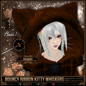 =^.^= Curious Kitties - Bouncy Ribbon Kitty Whiskers - Orange