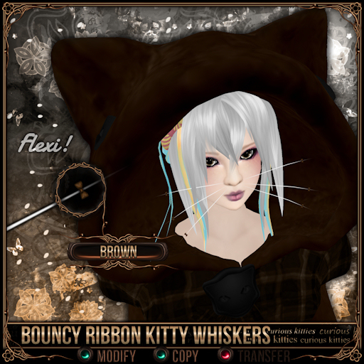 =^.^= Curious Kitties - Bouncy Ribbon Kitty Whiskers - Brown