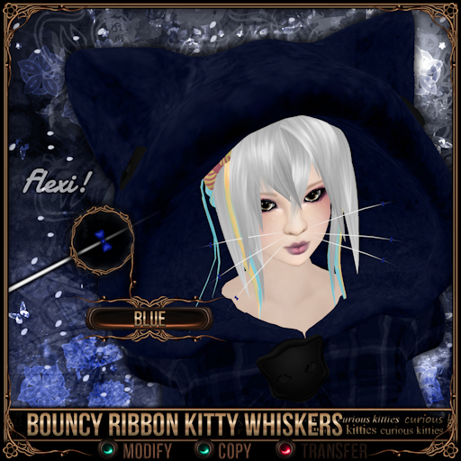 =^.^= Curious Kitties - Bouncy Ribbon Kitty Whiskers - Blue