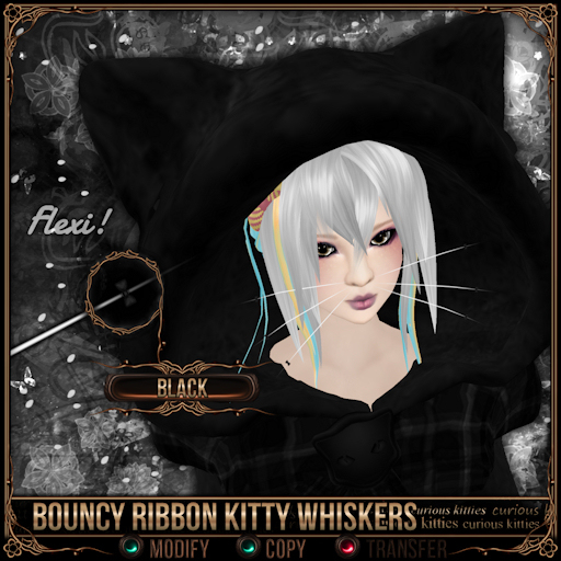 =^.^= Curious Kitties - Bouncy Ribbon Kitty Whiskers - Black