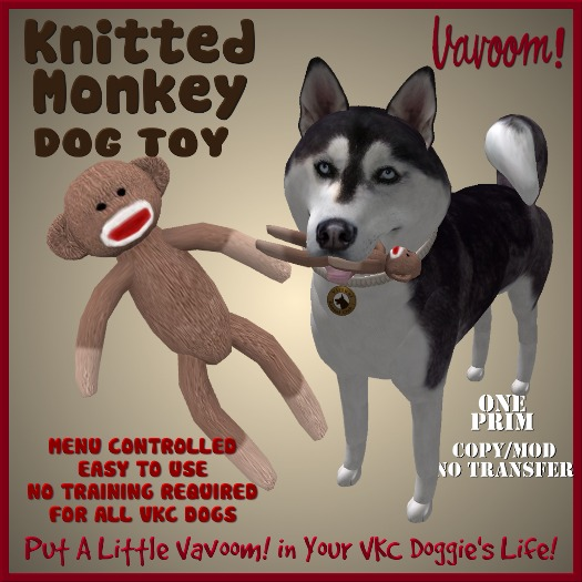 Knitted Sock Monkey Pet Toy By Vavoom!  - Toys and Accessories for Virtual Kennel Club (VKC®) Pets -No Training Required