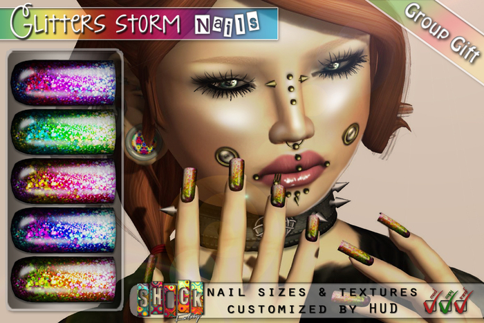[ S H O C K ] Glitters Storm Nails - Group gift