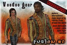 "!Voodoo Gear! Men's Mesh Dress Shirt ""Fusion #1"" African Fusion Print"