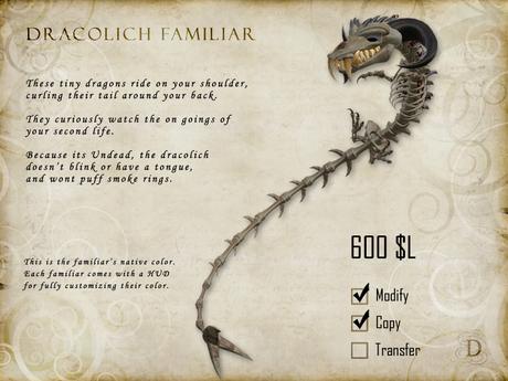 Dracolich Dragon Familiar - Shoulder Pet