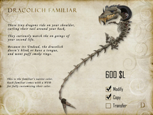Dracolich Dragon Familiar - Shoulder Pet