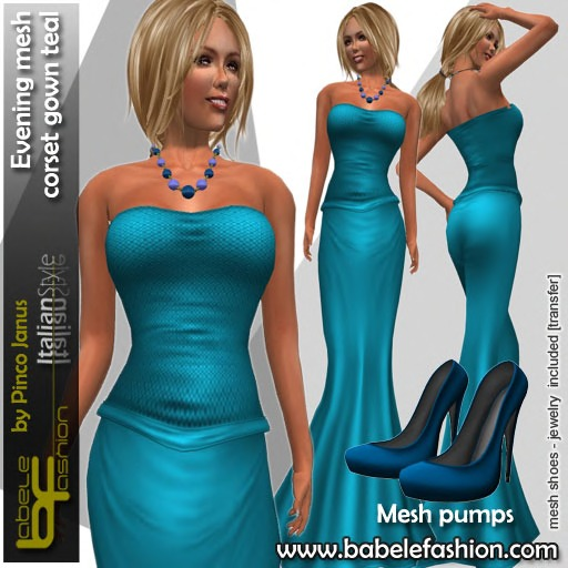 Babele Fashion Evening Mesh Corset Gown Teal