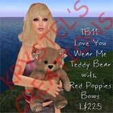 TB11 Cute Love You Teddy Bear with Red Poppies Bow (Wear Me)