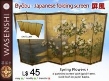 Byobu - Japanese folding screen - spring Flowers 1