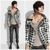(red)sand Check Fur Collar Jacket
