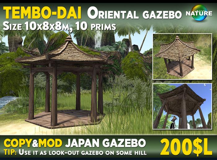 Second Life Marketplace Tembo Dai Japan Oriental Garden Gazebo Mesh 10 Prims Copy Mod Or Lookout Pergola For Mountain