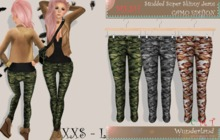 Wunderland - MESH Studded Super Skinny Jeans_Camo Edition FATPACK