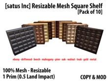 [satus Inc] Resizable Mesh Square Shelf (Pack of 10) (1 Prim)