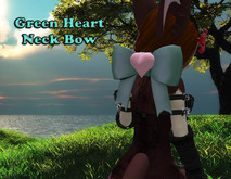 [BB] Green Heart Neck Bow *boxed*
