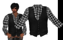MENS MESH SHIRT N VEST COMBO BLACK PLAID