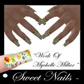 Long Nails M22 Color colorful flowers. Collection M'Lady!