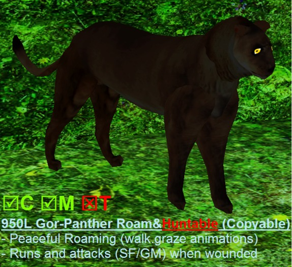 3D Animated Gor-PANTHER Huntable