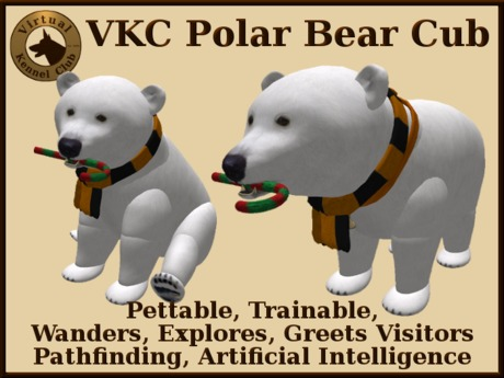 VKC® Polar Bear Cub - Artificially Intelligent (AI) Trainable Animal - No Food Required - Virtual Kennel Club Dogs