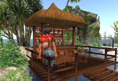 Tropical Tiki Bar with bridge, plants and rocks: beach bar