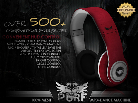 PURF - Mesh Marco HeadPhone Solid | MP3 PLAYER | CHIM DANCE MACHINE | MIC/SHOUTER | HUD CONTROL | 500+ COMBINATION