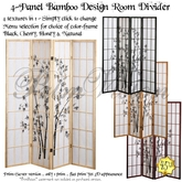 *PV* 4-Panel Bamboo Design Room Divider - 4 in 1!