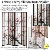 *PV* 4-Panel Cherry Blossom Design Room Divider - 4 in 1!