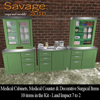 Medical Cabinets, Medical Counter with Decorative Supplies