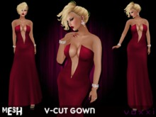 .::voxxi::. V-Cut Mesh Gown Very Berry