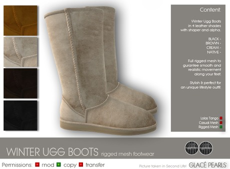 :: GLACE PEARLS :: Winter Ugg Boots [FATPACK] rigged mesh