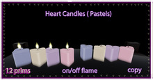 Hearts candle ( pastels  )