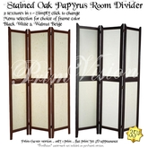 *PV* Stained Wood Papyrus Room Divider