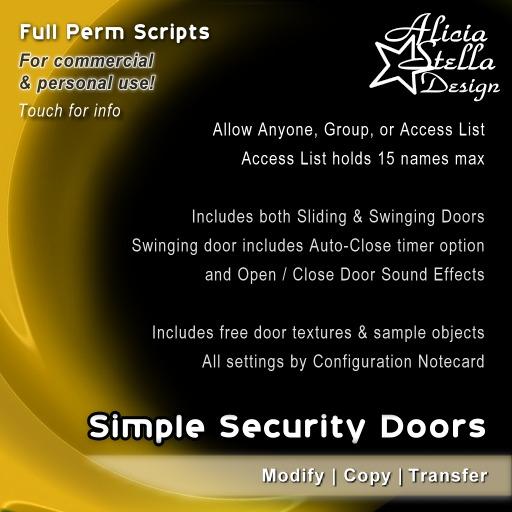 Security Doors Script Set - Full Perm Set