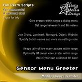 Sensor Menu Greeter - Full Perm Script