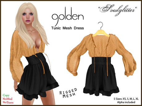 *Soulglitter* Tunic Mesh Dress - Sunny & Golden