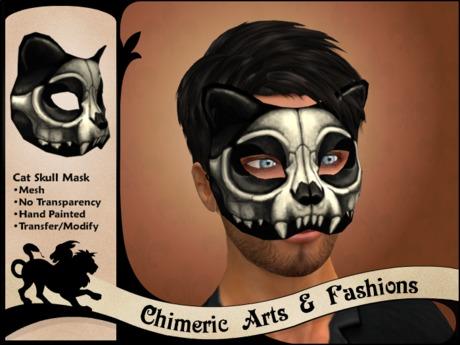 Cat Skull Mask Box - Black & White