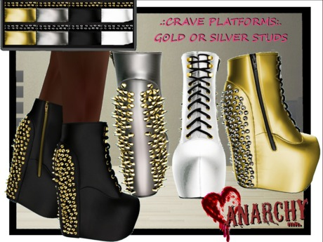 *An@rchy Ink* Crave Platform Boots - Bling
