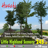 Little Highland Scenery with 4 trees, rocks, butterflies and plants