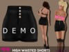 .::voxxi::. DEMO - MELLY Mesh High Waisted Shorts Black Leather