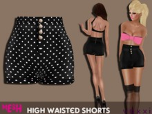 .::voxxi::. MELLY Mesh High Waisted Shorts Dotted Shiny Black
