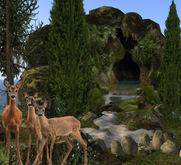 Grotto landscape + river, rocks, trees = 15 prim (m/tr)