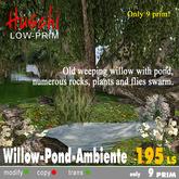 Old willow tree w. pond, rocks, flies swarm (m/trans)