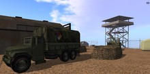 Army base with buildings and vehicles