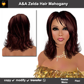 A&A Zelda Hair Mahogany.  Medium length hair with curled tips and bangs. Marketplace PROMO!