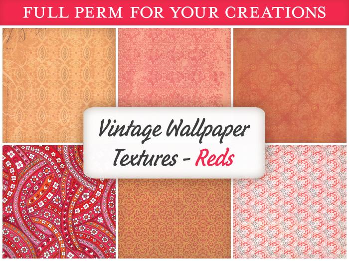 [croire textures] Vintage Wallpaper Textures (REDS) (6 antique distressed wallpaper full perm textures)
