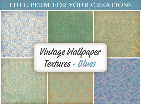 [croire textures] Vintage Wallpaper Textures (BLUES) (6 antique distressed wallpaper full perm textures)