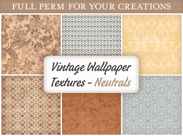 [croire textures] Vintage Wallpaper Textures (NEUTRALS) (6 antique distressed wallpaper full perm textures)